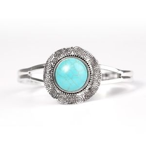 Silver and turquoise blue cuff bracelet